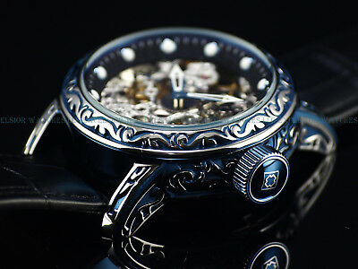 NEW Invicta Men's 50mm Scrollwork Excalibur Skeleton Mechanical Leather SS Watch