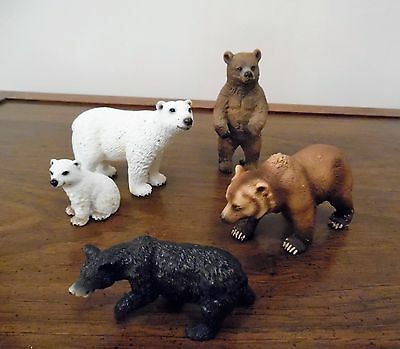 Lot Of 5 Schleich Germany Am Limes 69 Group Of Brown ~ Black ~ White Bears