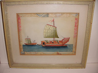 Antique Chinese Painting 19thC  Rice Paper fisherman sailboats