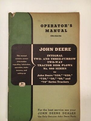 JOHN DEERE OPERATOR'S MANUAL OM-A56-956, Two-Way Tractor Disk Plows 880 Series