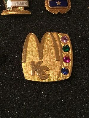 Vintage Kansas City McDonalds Gold Service Award Golden Arches Pin w/gemstones