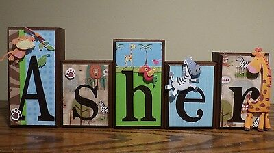 Baby Name Letters Gift Nursery Decor Baby Boy Zoo Animals Wooden Block Letters