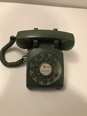 Vintage Green Western Electric Bell System Rotary Dial Telephone & Cord