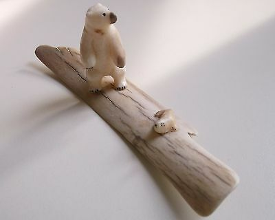 "Vintage 2"" Tall Hand Carved Polar Bear and .75"" Baby Seal on 6"" Ice Floe SWEET!"