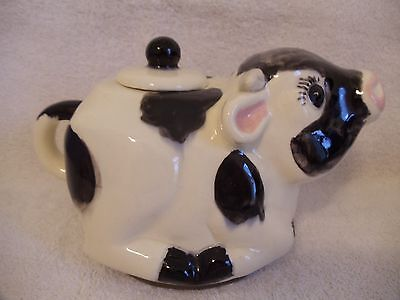 White & Black Cow Creamer/Pitcher/Tea Pot with Lid Signed Molly or Milly?