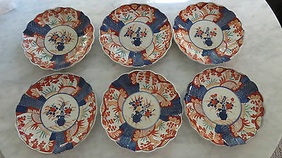 Set of Six 19th Century Scalloped Imari Japanese Plates