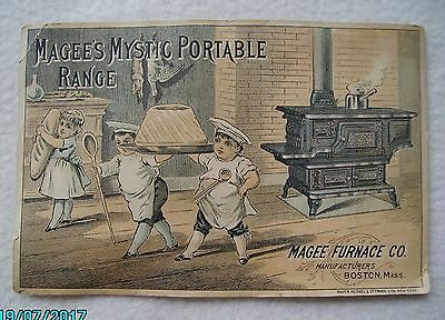 Old Victorian Trade Card Magee's Mystic Portable Range Stove Furnace Co Boston