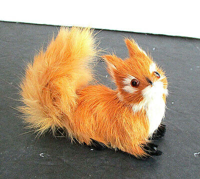 Small Fox Figure Made of Real Fur, Bushy Tail, Glass Eyes