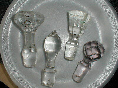 4 Antique Crystal Glass Decanter Stoppers