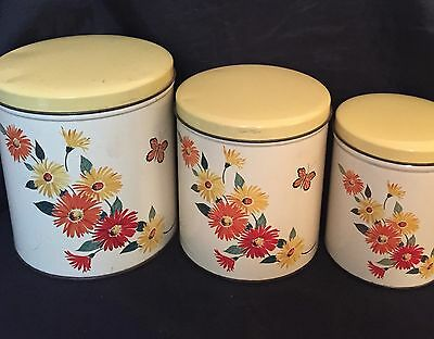 Vintage Trio of 1950's Nesting Canisters Orange & Yellow Flowers Butterfly