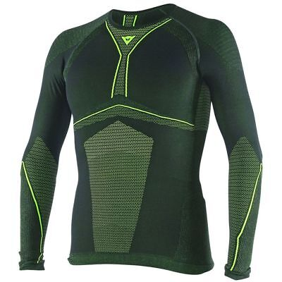 Dainese D-Core Dry Mens Long Sleeve Base Layer Shirt Top Black/Fluo Yellow
