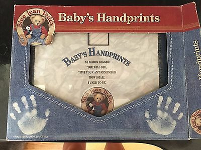 Baby Boy Handprint Kit Frame Blue Jean Teddy