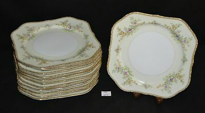"ThriftCHI ~ Meito China Side Plates Pink Rose and Yellow Edge Design 7.75"" (12)"