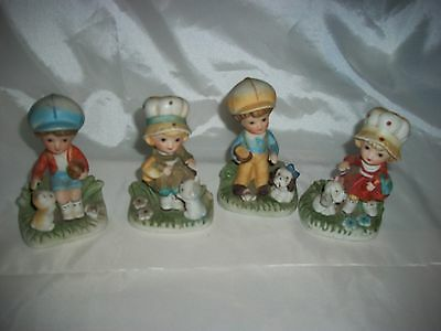 Vintage Set Of 4 Homco 1430-V Figurines  2 Boys 2 Girls With Cats & Dogs