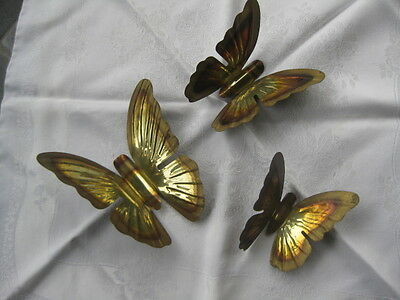Vintage Lot Of 3 Home Interior Metal Copper Tone Butterflies - Graduated Sizes