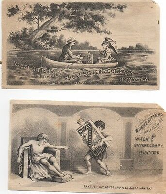 Lady Gent in Canoe w Bottle of Bitters  Quack Medicine (2) Adv Trade Cards c1878