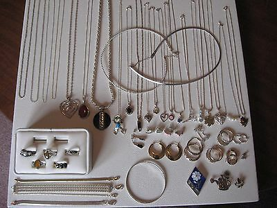 Vintage Lot Of Wearable Sterling Silver/925 Jewelry Pendents, Rings, Not Scrap