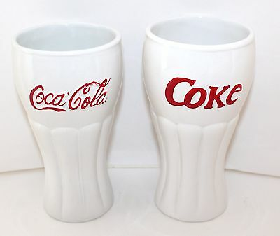 2003 Collectible Coke Bell Shaped Glasses White - Houston Harvest Gift Products