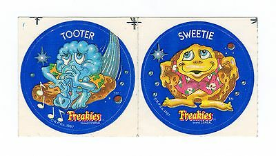 1987 Freakies Cereal Premium Stickers Set of 2 - Sweetie and Tooter