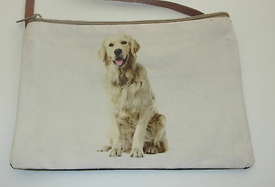 Golden Retriever Sling Bag Dog Purse Cross Body New Leather Strap Cotton Front