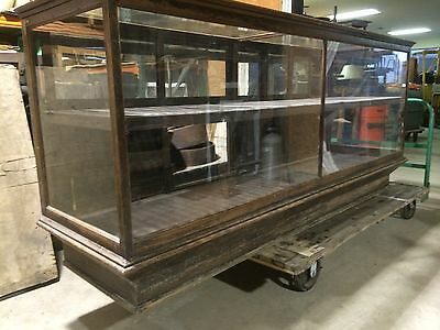 "Antique Oak Display Case 8' Long With Sliding Back Door , Beveled Glass,42"" Tall"