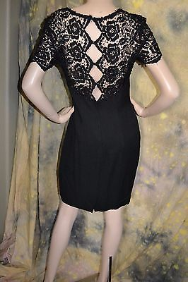 bc1733958b5 vtg 80s Jessica McClintock black DRAPING sheer LACE dress ROSE LBD sexy  back 10