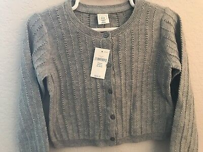 New With Tags Baby Gap Toddler Girls Gray Cardigan Sweater Size 4T 4 years