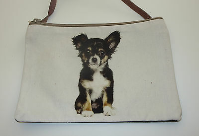 Chihuahua Sling Bag Dog Purse Cross Body New Leather Strap Cotton Front Canvas