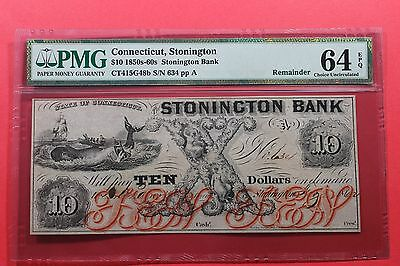 1850's 1860's $10 The Stonington Bank Connecticut Moby Dick Whale Obsolete Note