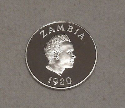 1980 Zambia International Year of the Child Silver Proof Coin