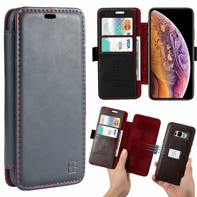 Flip Genuine PU Leather Wallet Case For iPhoneXS Max XR 678+ Samsung Accessories