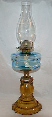 Antique Eapg Blue And Amber Apollo Pattern Glass Stand Table Lamp