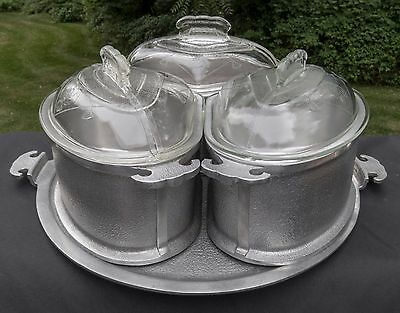 Vintage Guardian Service Ware Economy Trio Triangle Pots with Lids Large Tray