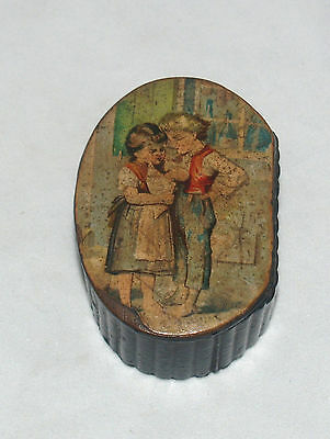 Antique Black Lacquer Paper Mache Snuff Box With Portrait Boy And Girl On Lid
