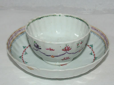 Antique Porcelain Cup And Saucer Chinese Export Porcelain Rose Swag