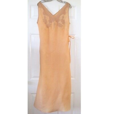 Vtg 1930s Long Pink Night Gown Lace S/M