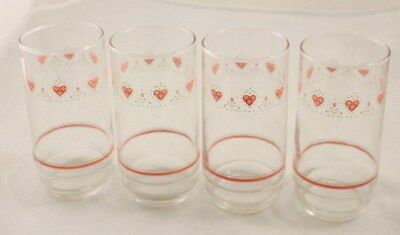 """Lot 4 Corelle FOREVER YOURS 5 7/8"""" Tumblers Drinking Glasses pink heart Tapered"""