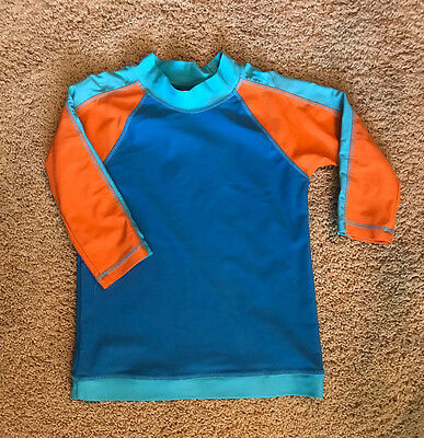 Mini Boden Boys Blue Orange Color block Rash Guard. Size 7-8y. Excellent Cond