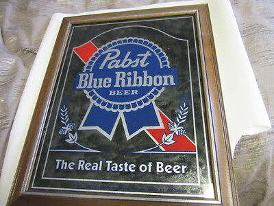 Vtg Pabst Blue Ribbon Beer Sign Old Smoked Glass Mirror Pbr Game Room Bar Pub