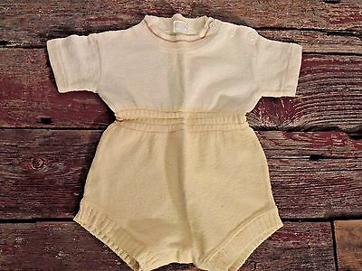 Vintage Baby Boy 1960's Kid N Cotton Sternberg One Piece Shorts Outfit Yellow