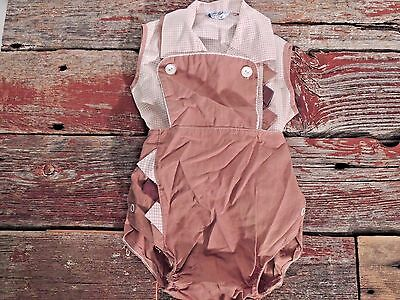 Vintage Baby 1960's Toddle Tyke Two Piece Shorts Outfit Brown Check 13-18 lbs