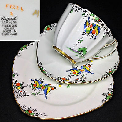 Paragon 1930s F1824 Birds Art Deco Vintage English Bone China Trio Set VERY RARE