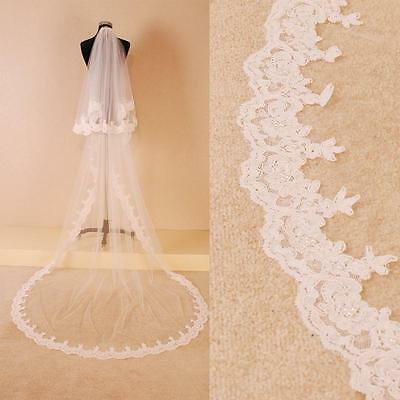 New Two Tier Chapel / Cathedral Long Lace Bridal Accessories Veils with comb