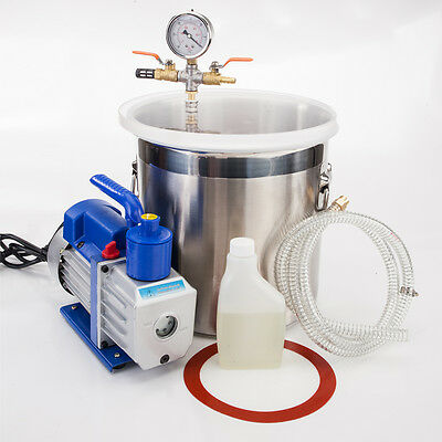 2 Gallon Vacuum Chamber + 3CFM 1/4HP Single Stage Pump to Degassing Silicone Kit