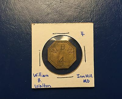 William B. Walton Iron Hill, Maryland Cannery Token