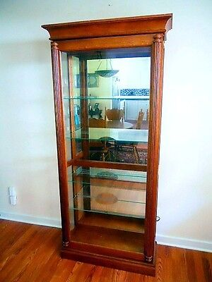 Vintage Reproduction Oak Two Way Sliding Beveled Glass Door Display Cabinet