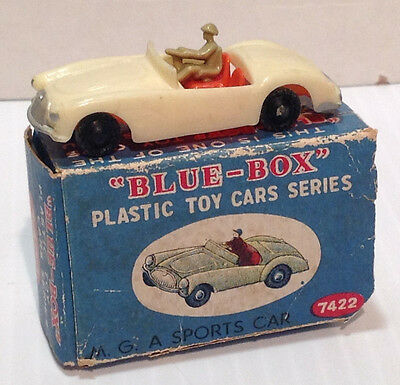 Vintage 1:87 Blue-Box Plastic Toy Car Series M.G.A. Sports Car Made in Hong Kong