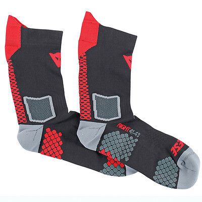 Dainese D-Core Black / Red Motorcycle Motorbike Unisex Mid Socks | All Sizes