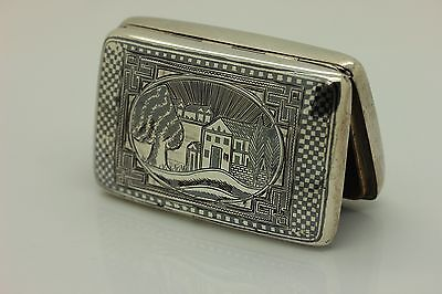 Antique Original Perfect Silver Niello Armenian Van Cigarette Case