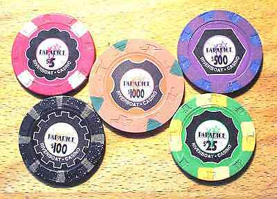 Par-A-Dice Casino - 5 Chip Sample Set - $5. to $1000. Chips